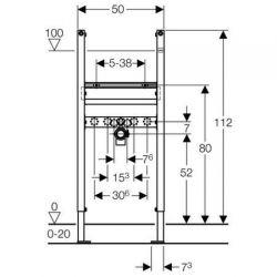 Geberit Duofix - element montażowy do umywalki dla baterii stojącej, H112