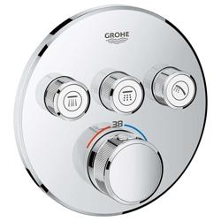 Grohe Grohtherm SmartControl - bateria podtynkowa do 3 wyjść wody, okrągła, chrom