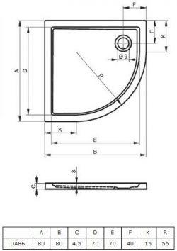 RIHO 278 - brodzik płaski  80 x 80 cm R=55 cm, montaż bezpośrednio na posadzce