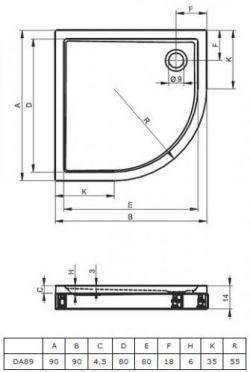 RIHO 281 - brodzik płaski  90 x 90 cm R=55 cm + nóżki i panel