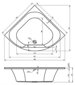 RIHO Atlanta - wanna symetryczna 140 x 140 cm