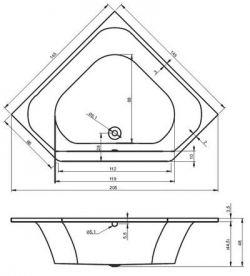 RIHO Austin - wanna symetryczna pięciokątna 145 x 145 cm