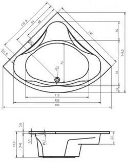 RIHO Neo - wanna narożna symetryczna 140 x 140 cm
