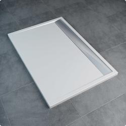 Sanswiss ILA WIA - brodzik prostokątny 90 x 100 cm, biały, pokrywa srebrny połysk