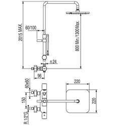 Tres Loft - zestaw prysznicowy z baterią termostatyczną